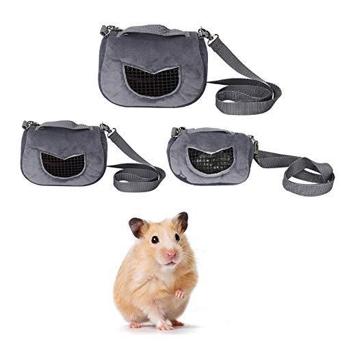 Pssopp Tragbare Hamster Tragetasche Flanell Atmungsaktive Tragetasche für Haustiere Ausgehende Tasche für Kleintiere Igel, Zuckersegelflugzeuge Meerschweinchen Eichhörnchen(L)
