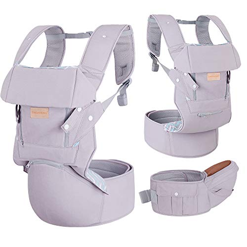 Infant Baby Wrap Carrier with Stool - All Positions Baby Carrier, Baby Hip Seat Ergonomic Carrier, Newborn to Toddlers Carrier with Soft Breathable Air Mesh, All Adjustable Buckles (Light Grey,1 Pack)