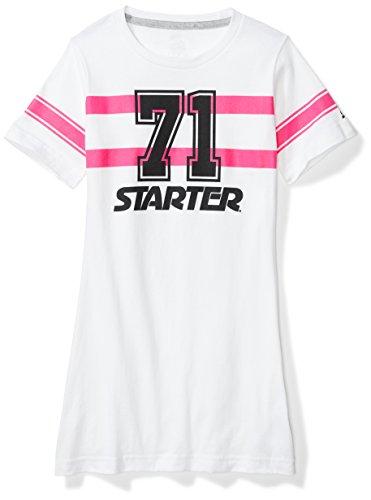 Starter Girls' Football Jersey Tunic T-Shirt Dress, Amazon Exclusive, White, L (10/12)