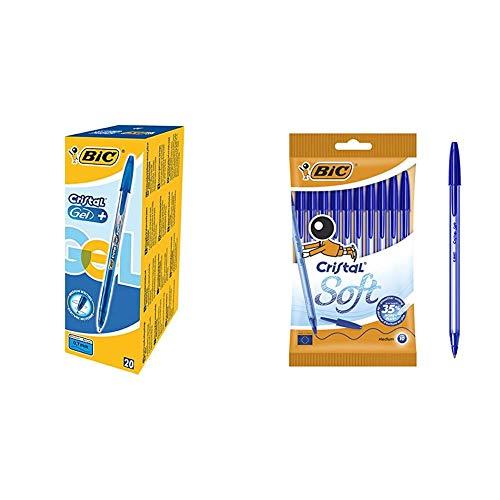 BIC Cristal Gel+ bolígrafos punta media (0,7 mm), caja de 20 unidades, color azul – bolígrafos tinta en gel para escritura suave + Cristal Soft Bolígrafos Punta Media (1,2 mm) con escritrua suave