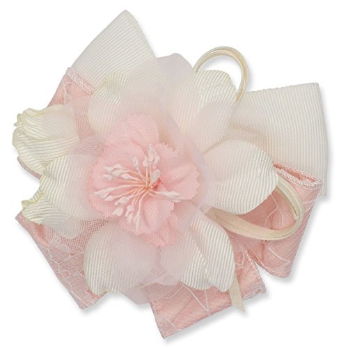 [鎌倉工芸] レース リボンフラワー クリップ付き フォーマル コサージュ ピンク