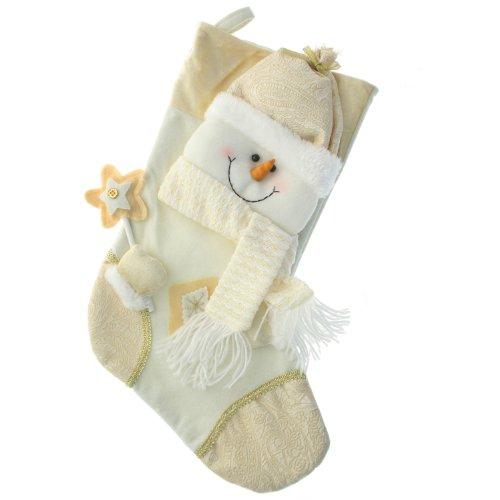 WeRChristmas - Calza natalizia 48 cm con decorazione pupazzo di neve, colore panna/oro