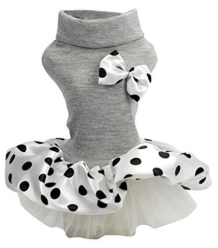 ChezAbbey Pet Dog Wedding Dress Bowknot Princess Dot Tutu Skirt Dog Cat Tulle Skirt Pet Clothes for Small Medium Dog Girls Gray Small
