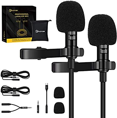 Professional Dual Lapel Microphone, EIVOTOR 3.5mm Lavalier Microphone for YouTube, Interview, Vlogging, Blogging, Clip-on Microphone Omnidirectional Condenser Mic for Phone, PC, Laptop, Camera, etc