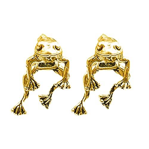 ERZU Pendientes colgantes de plata de ley 925 con diseño de rana para mujeres y niñas, regalo de joyería (2 maneras de usar)