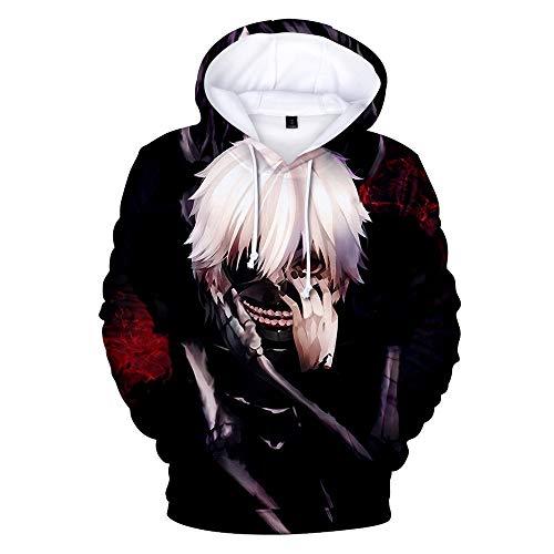 PLMNK Tokyo Ghoul Suéter con patrón de Anime de Dibujos Animados en 3D, suéter de Bolsillo de Manga Larga, Sudadera con Capucha Unisex, Camisa Deportiva Informal XL