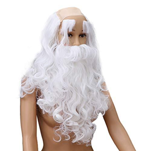 ABOOFAN - Juego de barba de Pap Noel, color blanco con bigote para cejas, para cosplay, barba larga, fiesta, fiesta, disfraz