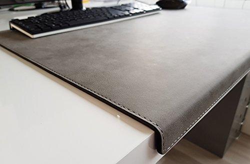 Hoekige bureauonderlegger met randbescherming nubuk leer 90 x 47 grijs
