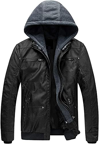 Blaq Ash Men's Hooded Biker Jacket