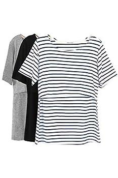 Smallshow 3 Pcs Maternity Nursing T-Shirt Nursing Tops White Stripe-Black-Grey Large
