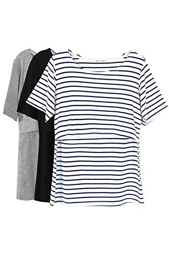 Smallshow 3 Pcs Maternity Nursing T-Shirt Nursing Tops White Stripe-Black-Grey Large