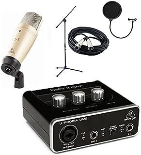 واجهة صوتية um2 وميكروفون بيهرنجر C-1 وفلتر صوت بوب وحامل وكابل اكس ال ار