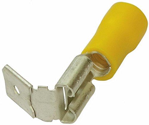 Aerzetix: 100 x Kabelschuhe Kabelschuh ( Klemme ) männlich / weiblich flach 6.3mm 0.8mm 4-6mm2 gelb isoliert