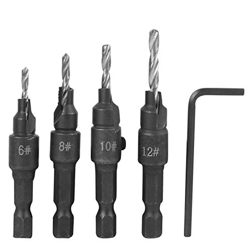 4Pcs Carbon Steel Drill Bit Kit 6-12# with Hex Wrench Woodworking Tool Accessories