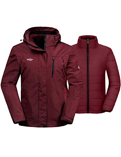 Wantdo Women's Waterproof 3-in-1 Ski Jacket Wind Resistant Rainwear Wine Red 2XL