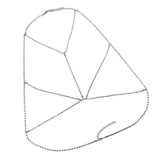 Gazechimp Collar de Arnés Cadena de Cuerpo Diseño de Sujetador Adorno en Playa Ropa de Mujer Bastante Brillante - Plata