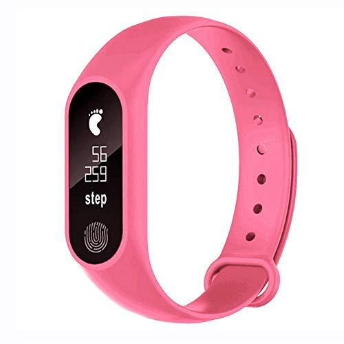 LINGJIA Pulsómetros M2 Sports Podometer Smart Bracelet Heart Rate V4.0 Smart Watch Fitness Running Walking Walking Heart Rate Monitor para Hombres Mujeres Rosa
