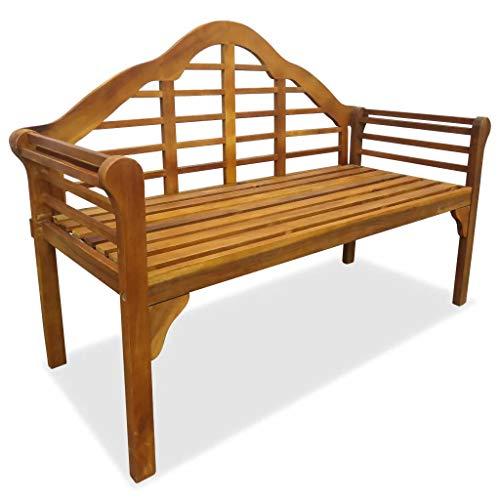 GOTOTOP - Banco de jardín de madera de acacia sólida, 135 x 55 x 95 cm, banco de 2 plazas con reposabrazos cómodo para jardín, parque terraza exterior