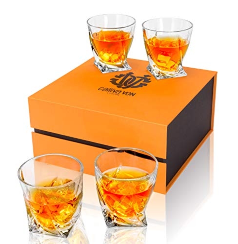 calliva von Bicchieri Whisky Cristallo, Bicchieri da Whiskey Cristallo Senza Piombo, Set di 4 Pezzi, 300 ml