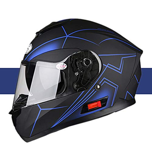 boaber Casco de motocicleta de cara completa con Bluetooth para coche eléctrico de cuatro estaciones de verano, casco de personalidad, color negro y azul y rayas - patrón de personalidad (tamaño: XL)