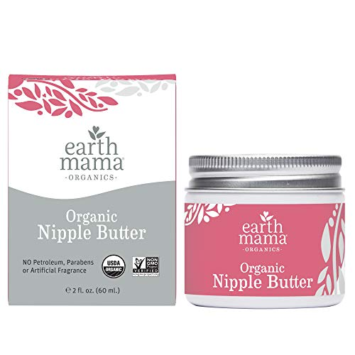 Organic Nipple Butter Breastfeeding Cream by Earth Mama | Lanolin-free, Safe for Nursing & Dry Skin, Non-GMO Project Verified, 2-Fluid Ounce (3-Pack)