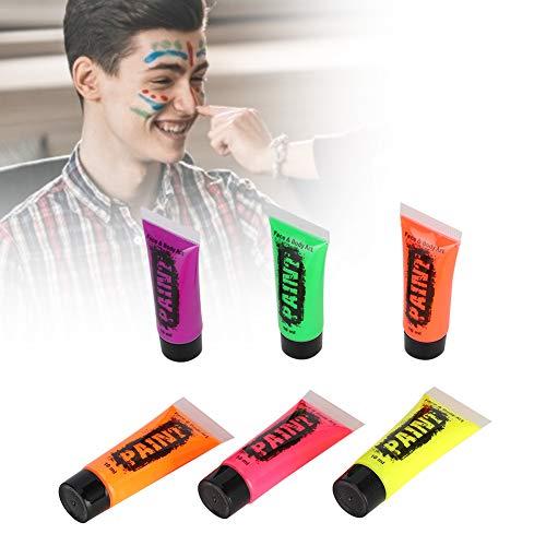 Ensemble de peinture pour le corps, pigment de peinture pour le corps professionnel, maquillage de lumière noire, pigment de peinture fluorescente bricolage Halloween, ensemble de 6 tubes, 10 ml/tube