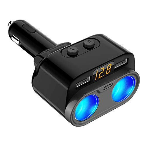 Kaxofang Car Charger Dual USB Fast Two Car Cigarette Car Charger Type-C C74