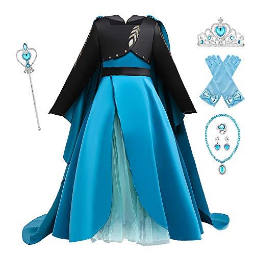 O.AMBW Disfraz Frozen 2 Queen Anna Vestido Azul de Ceremonia de coronacin con Capa Desmontable Cosplay Ana con Accesorios para Halloween Carnaval Cumpleaos Nias de 2 a 10 aos