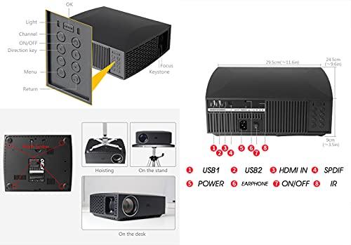 Proyector LED Full HD Smart Wireless 1080P, Equipado con Sistema Android, Multilingüe, Supercompatibilidad, Superfunción, Calidad HD,Basic Version