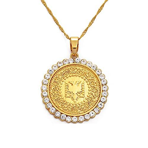 DSHT Collana con Ciondolo Aquila Albanese Rotonda Collana con Ciondolo Albanese Color Oro E Argento # 231606