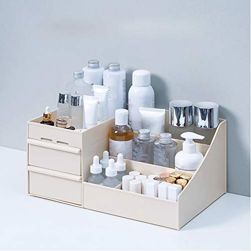 SKEMIX Large Capacity Cosmetic Storage Box Makeup Drawer Organizer Jewelry Nail Polish Makeup Container Desktop Sundries Storage Box (Khaki)
