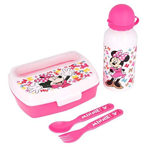 Little Flight Minnie Pois Rossi Disney Set Borraccia e Porta merenda Minnie (1 Borraccia,1 Sandwich Box, 2 Posate )