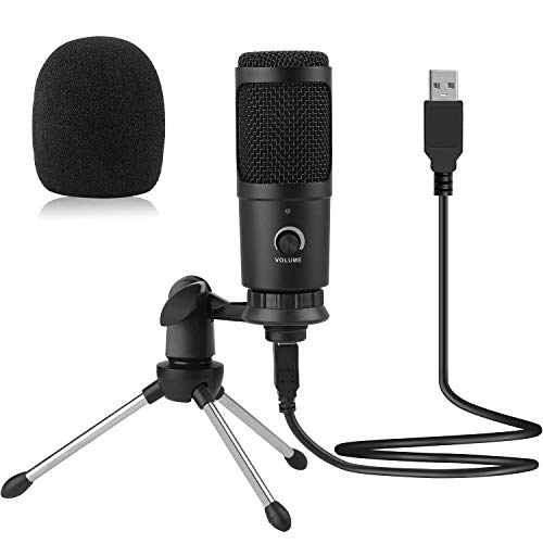 USB Mikrofon, SZXULI Lärmminderung Mikrofon, PC Kondensator mikrofone mit Ständer, Professionelles Kondensator Computer Mikrofon für Gaming, Podcast, Studio, Streaming, YouTube, Video Aufnahme