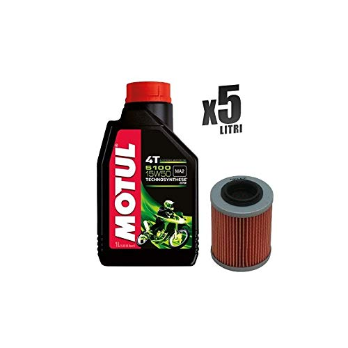 Motul 5100 15W50 motorfiets, 5 liter motorolie + filter 152