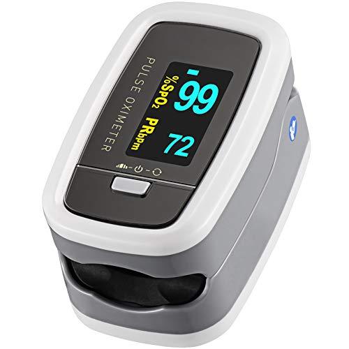 Mpow Pulsossimetro Saturimetro da Dito Ossimetro, Display OLED con 4 Girevoli Direzioni e 5 Luminosità Regolabili