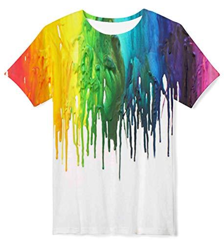 ALISISTER Ragazzo Ragazze T-Shirt Cool 3D Bianca Magliette Graffiti Stampata Grafica per Bambini T Shirt Manica Corta da Bambino 13-14 Anni