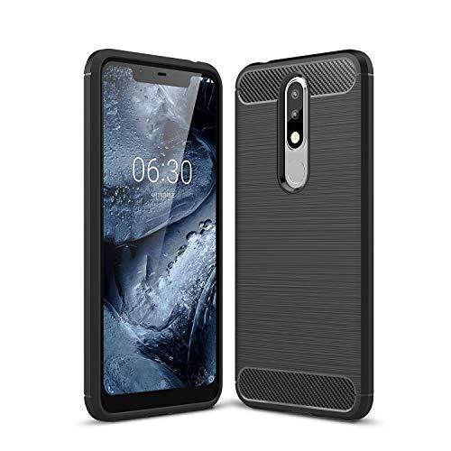 Cruzerlite Nokia 5.1 Plus hülle, Carbon Fiber Shock Absorption Slim TPU Cover Schutzhülle für Nokia 5.1 Plus (Black)