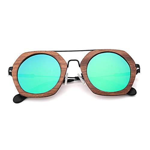 GTYHJUIK gepolariseerde bamboe hout zonnebril mode Mezzanine hout metalen frame outdoor schaduw spiegel casual reizen voor mannen en vrouwen