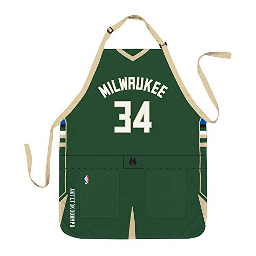 Unbekannt NBA Milwaukee Bucks Giannis Antetokounmpo Unisex Milwaukee Bucks NBA Jersey Schürze – Giannis Antetokounmpo – Grillschürze, Team-Farbe, 86,4 x 66 cm