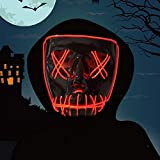 Vohoney LED Maske Halloween Maske Leuchten Maske Light up Mask Scary mask für Party Kostüm Cosplay Dekoration Gruselige Maske (LED Maske for Rot)