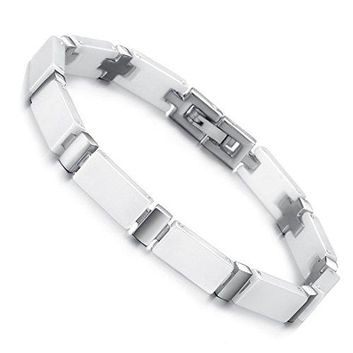 Elegantes Damen-Armband von Cupimatch, 6,5mm, weiße Keramik und Edelstahl, Kreuzverbindungen, perfektes Geschenk