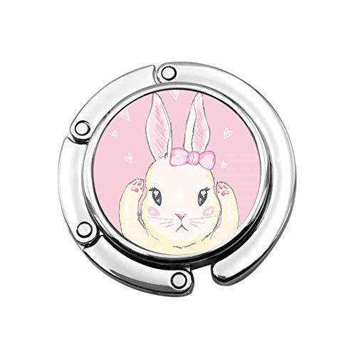 Bunny Cute Rabbit Pink Color Animal Hangers Bags For Women Monedero Percha para Escritorio Diseños únicos