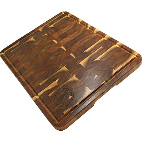 Acacia 17 x 13 x 1 inch Extra-Large End-Grain Wooden Cutting Board with Juice Groove & Hand Grip Dark Butcher Block Chopping Carving Serving Platter Cheese Plate Server Tray Deluxe Birthday Gift Idea