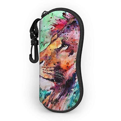 Funda Gafas Pintura al óleo de leones Neopreno Estuche Ligero con Cremallera Suave Gafas Almacenaje