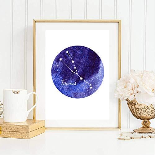 Din A4 Kunstdruck ungerahmt Sternzeichen Horoskop Stier Taurus Astrologie Sterne Sternhimmel Sternbild Druck Poster Deko Bild