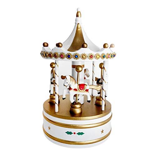 haoyuestory Holz-Spieluhr, exquisite klassische Musik-Karussell-Spieluhr, Vintage-Box, niedliche Spieluhr, Weihnachtsdekoration, Desktop-Ornamente, Valentinstag, Weihnachten