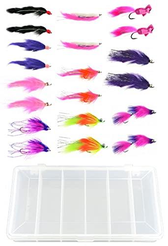 Discountflies Alaska Silver Salmon Collection 20 Flies + Fly Box