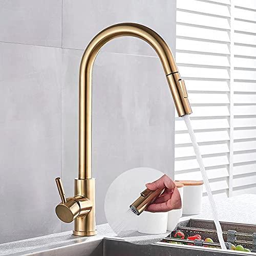 Grifos De Lavabo Baratos grifos lavabos altos Grifo de latón dorado para cocina giratorio con una manija afilada un solo orificio agua fría y caliente
