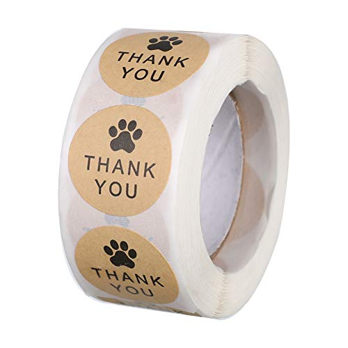 500pcs Dog Paw Thank You Stickers - Kraft Paper and Dog Paw Cartoon Design, 1 Inch 500pc, Great for Kid's Birthday, Crafts Shop and Small Business