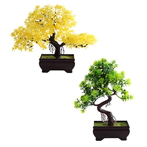 WINOMO 2pcs Bonsai Tree Fake Plants Potted Tree Artificial Cedar Bonsai Tree Decoration for Farmhouse Indoor Outdoor Desktop Display Zen Garden Decors